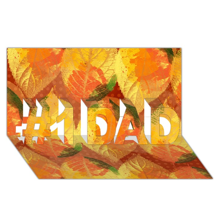 Fall Colors Leaves Pattern #1 DAD 3D Greeting Card (8x4)