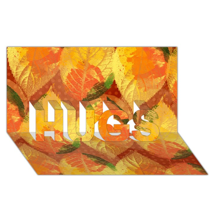 Fall Colors Leaves Pattern HUGS 3D Greeting Card (8x4)