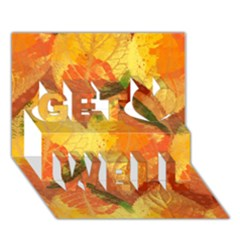 Fall Colors Leaves Pattern Get Well 3d Greeting Card (7x5) by DanaeStudio