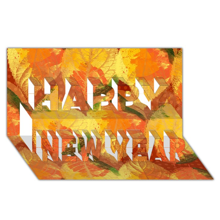 Fall Colors Leaves Pattern Happy New Year 3D Greeting Card (8x4)