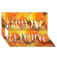 Fall Colors Leaves Pattern Congrats Graduate 3d Greeting Card (8x4) by DanaeStudio