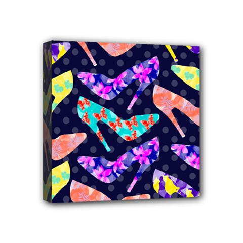 Colorful High Heels Pattern Mini Canvas 4  X 4  by DanaeStudio