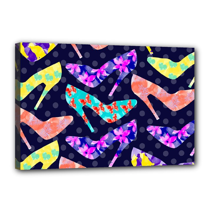 Colorful High Heels Pattern Canvas 18  x 12