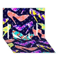 Colorful High Heels Pattern I Love You 3d Greeting Card (7x5)
