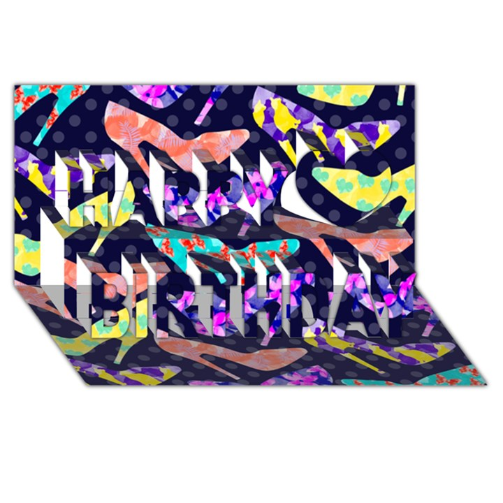 Colorful High Heels Pattern Happy Birthday 3D Greeting Card (8x4)