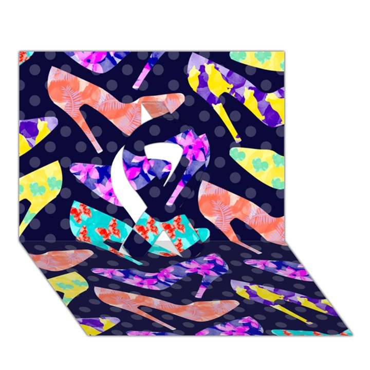 Colorful High Heels Pattern Ribbon 3D Greeting Card (7x5)