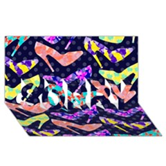 Colorful High Heels Pattern Sorry 3d Greeting Card (8x4)