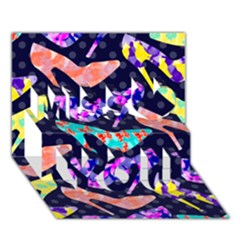 Colorful High Heels Pattern Miss You 3d Greeting Card (7x5) by DanaeStudio
