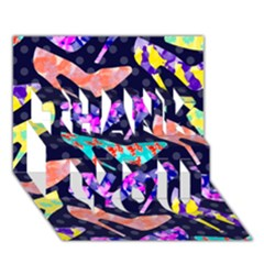 Colorful High Heels Pattern Thank You 3d Greeting Card (7x5)