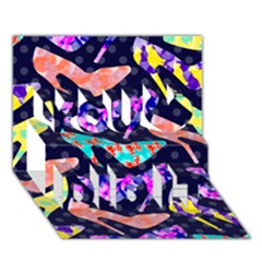 Colorful High Heels Pattern You Did It 3d Greeting Card (7x5) by DanaeStudio