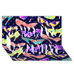 Colorful High Heels Pattern Congrats Graduate 3d Greeting Card (8x4) by DanaeStudio