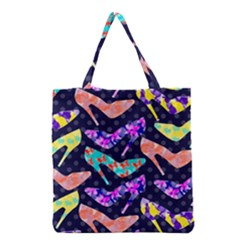 Colorful High Heels Pattern Grocery Tote Bag by DanaeStudio