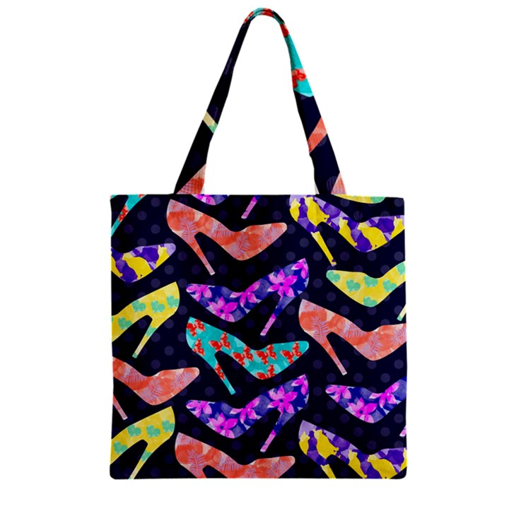 Colorful High Heels Pattern Zipper Grocery Tote Bag