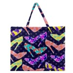 Colorful High Heels Pattern Zipper Large Tote Bag