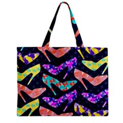 Colorful High Heels Pattern Medium Zipper Tote Bag by DanaeStudio