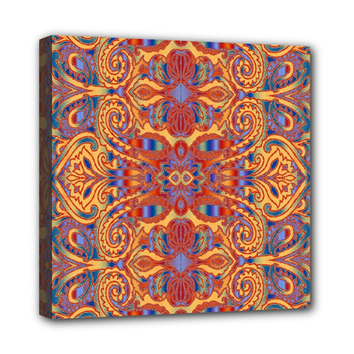 Oriental Watercolor Ornaments Kaleidoscope Mosaic Mini Canvas 8  x 8