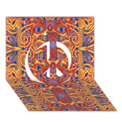 Oriental Watercolor Ornaments Kaleidoscope Mosaic Peace Sign 3d Greeting Card (7x5)