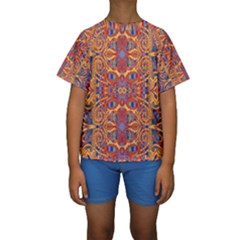 Oriental Watercolor Ornaments Kaleidoscope Mosaic Kids  Short Sleeve Swimwear by EDDArt