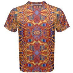Oriental Watercolor Ornaments Kaleidoscope Mosaic Men s Cotton Tee by EDDArt