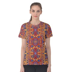 Oriental Watercolor Ornaments Kaleidoscope Mosaic Women s Cotton Tee