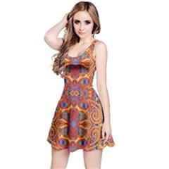 Oriental Watercolor Ornaments Kaleidoscope Mosaic Reversible Sleeveless Dress