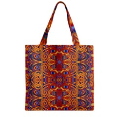 Oriental Watercolor Ornaments Kaleidoscope Mosaic Grocery Tote Bag by EDDArt