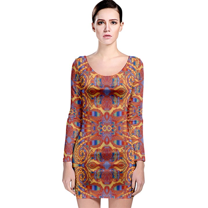 Oriental Watercolor Ornaments Kaleidoscope Mosaic Long Sleeve Bodycon Dress