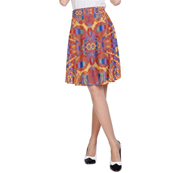 Oriental Watercolor Ornaments Kaleidoscope Mosaic A-Line Skirt
