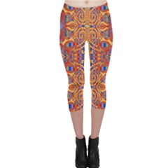 Oriental Watercolor Ornaments Kaleidoscope Mosaic Capri Leggings  by EDDArt