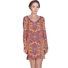 Oriental Watercolor Ornaments Kaleidoscope Mosaic Long Sleeve Nightdress
