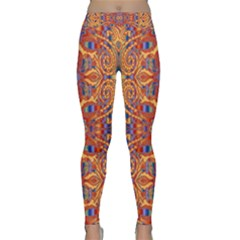 Oriental Watercolor Ornaments Kaleidoscope Mosaic Yoga Leggings  by EDDArt