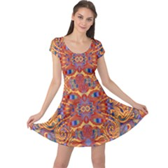 Oriental Watercolor Ornaments Kaleidoscope Mosaic Cap Sleeve Dresses