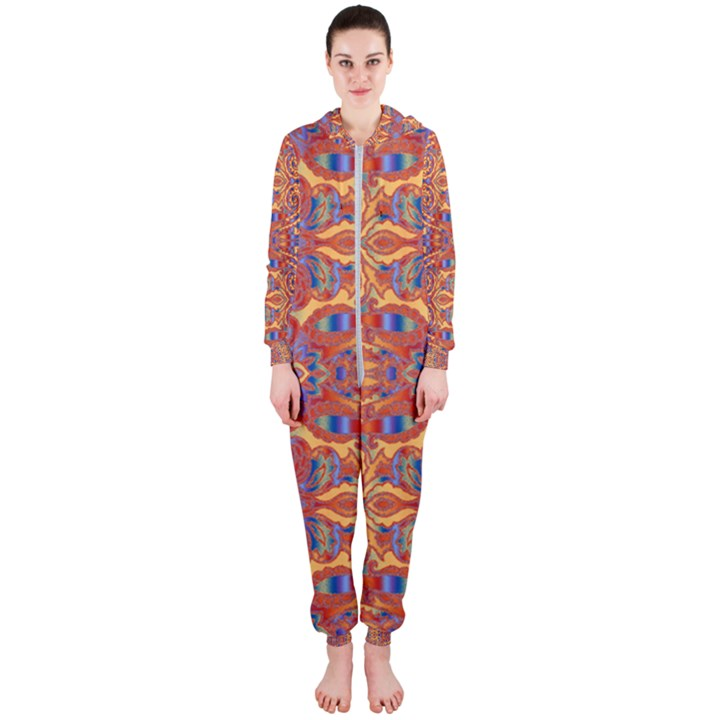 Oriental Watercolor Ornaments Kaleidoscope Mosaic Hooded Jumpsuit (Ladies)