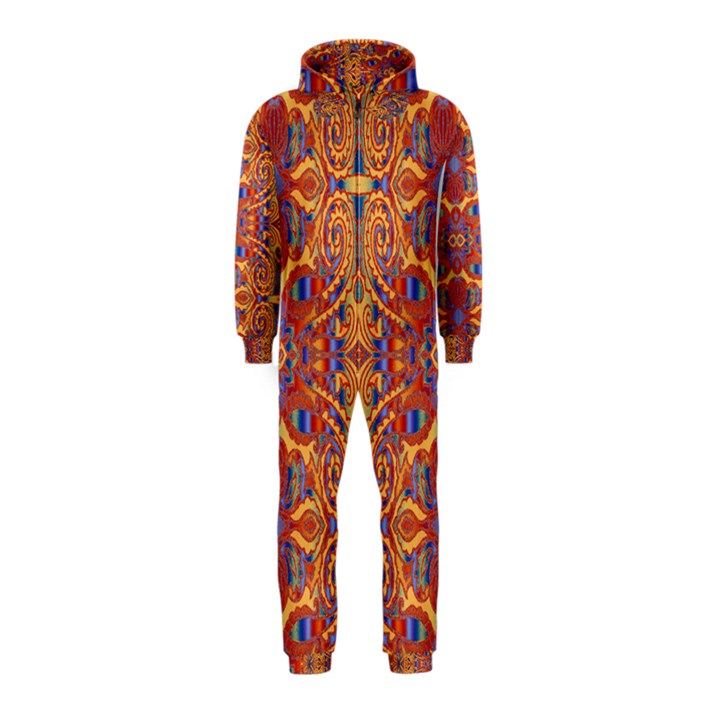 Oriental Watercolor Ornaments Kaleidoscope Mosaic Hooded Jumpsuit (Kids)