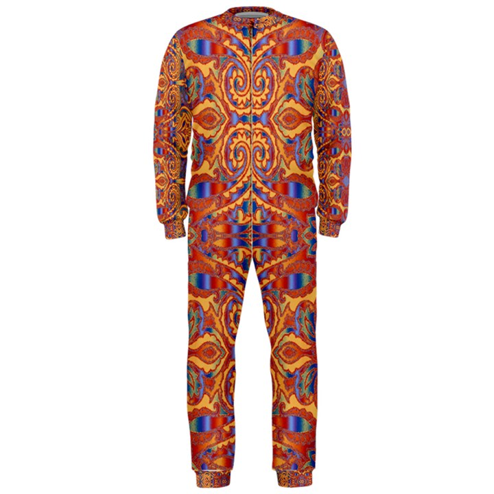 Oriental Watercolor Ornaments Kaleidoscope Mosaic OnePiece Jumpsuit (Men)