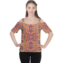Oriental Watercolor Ornaments Kaleidoscope Mosaic Women s Cutout Shoulder Tee by EDDArt
