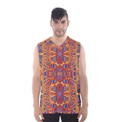 Oriental Watercolor Ornaments Kaleidoscope Mosaic Men s Basketball Tank Top by EDDArt