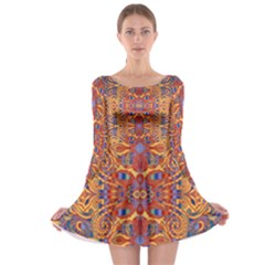 Oriental Watercolor Ornaments Kaleidoscope Mosaic Long Sleeve Skater Dress by EDDArt