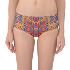 Oriental Watercolor Ornaments Kaleidoscope Mosaic Mid Waist Bikini Bottoms by EDDArt
