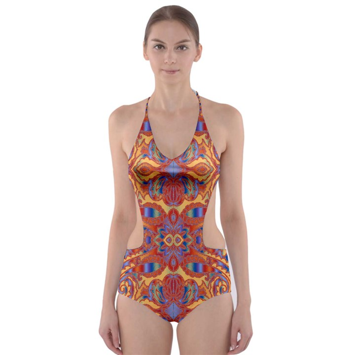 Oriental Watercolor Ornaments Kaleidoscope Mosaic Cut-Out One Piece Swimsuit