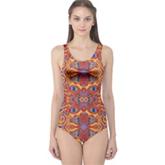 Oriental Watercolor Ornaments Kaleidoscope Mosaic One Piece Swimsuit