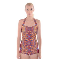 Oriental Watercolor Ornaments Kaleidoscope Mosaic Boyleg Halter Swimsuit