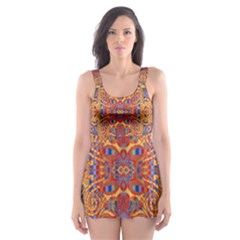 Oriental Watercolor Ornaments Kaleidoscope Mosaic Skater Dress Swimsuit