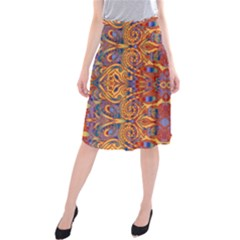 Oriental Watercolor Ornaments Kaleidoscope Mosaic Midi Beach Skirt