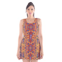 Oriental Watercolor Ornaments Kaleidoscope Mosaic Scoop Neck Skater Dress by EDDArt