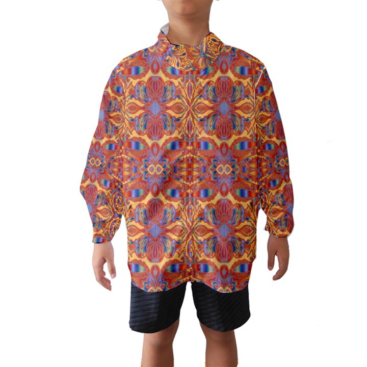 Oriental Watercolor Ornaments Kaleidoscope Mosaic Wind Breaker (Kids)