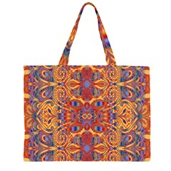 Oriental Watercolor Ornaments Kaleidoscope Mosaic Zipper Large Tote Bag by EDDArt