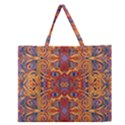 Oriental Watercolor Ornaments Kaleidoscope Mosaic Zipper Large Tote Bag View1