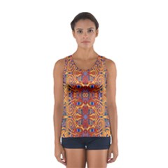 Oriental Watercolor Ornaments Kaleidoscope Mosaic Women s Sport Tank Top