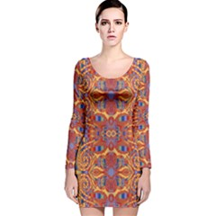 Oriental Watercolor Ornaments Kaleidoscope Mosaic Long Sleeve Velvet Bodycon Dress by EDDArt